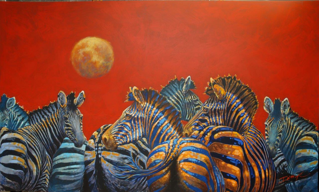 Moonlight ponies  Price: R65,000.00 Dimensions: 250 x 150cm Medium: Varnished acrylic on canvas