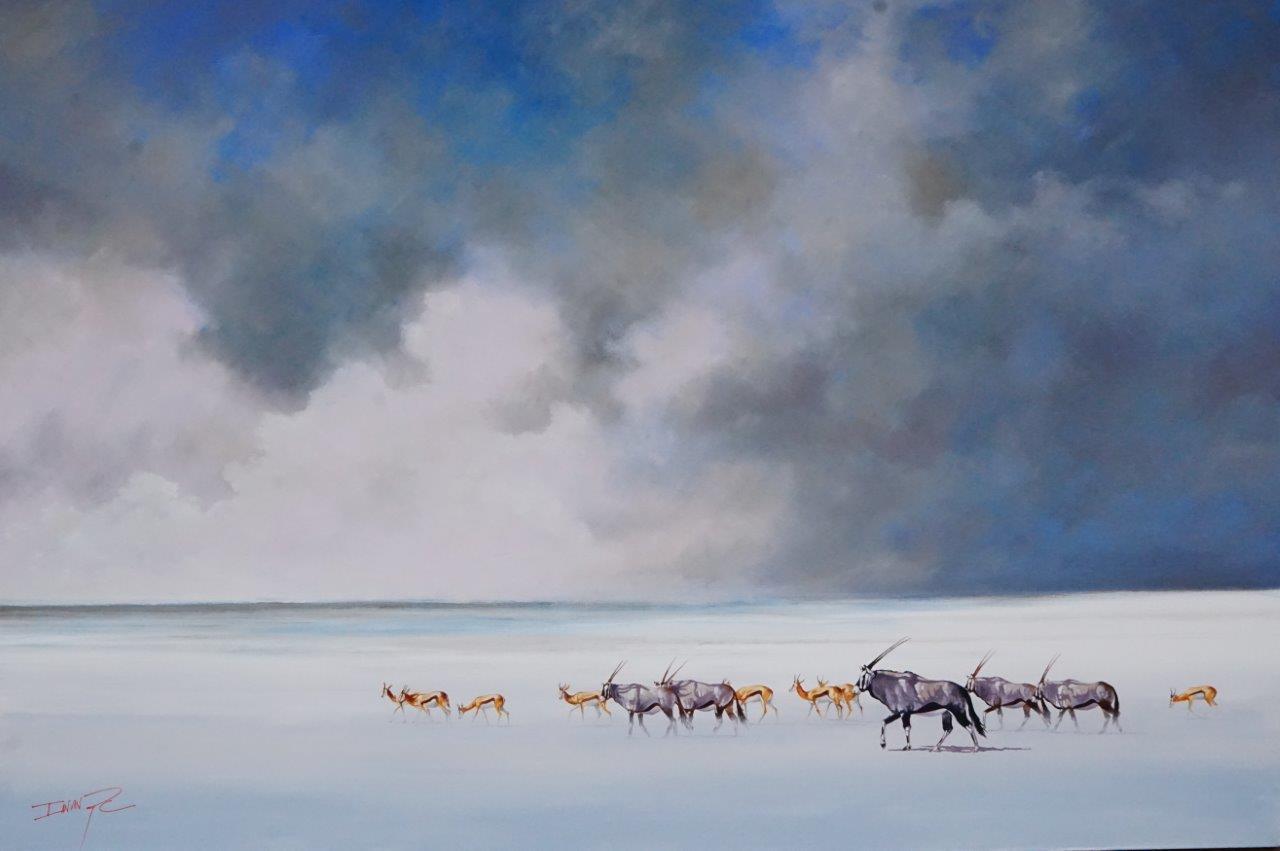 Towards the Rain  Price: R32,000.00 Dimensions: 180 x 120cm Medium: Oil & Acrylic on canvas